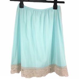 Vintage Blue With Lace Trim Half Slip, size S
